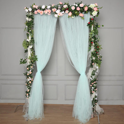 5FTx10FT | Double Sided Sheer Tulle Backdrop Curtain Panels with Satin Rod Pockets - Blue