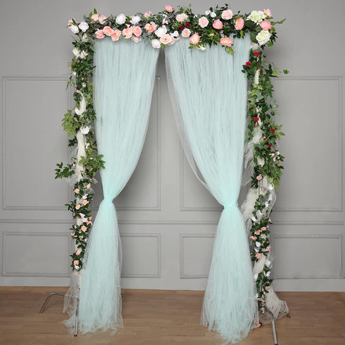 5 FT x 10 FT - Double Sided Tulle Backdrop Sheer Curtain Panels with Satin Rod Pockets - Blue