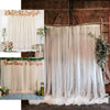 5FT x 10FT - Double Sided Tulle Backdrop Sheer Curtain Panels with Satin Rod Pockets - White