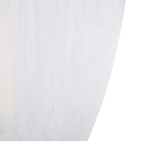 5 FT x 10 FT - Double Sided Tulle Backdrop Sheer Curtain Panels with Satin Rod Pockets - White