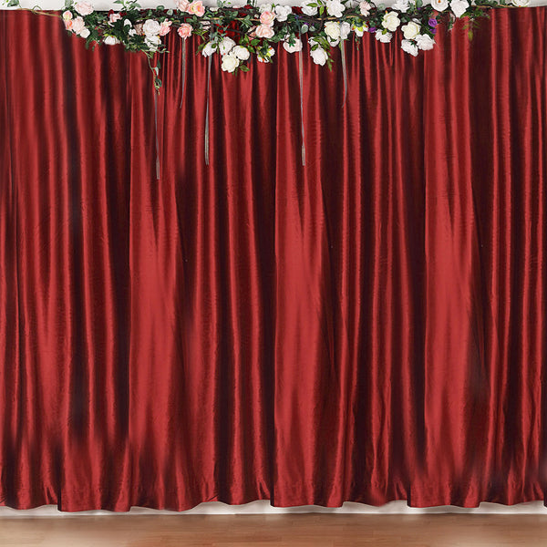 8Ft H x 8Ft W Wine Premium Velvet Backdrop Curtain Panel Drape