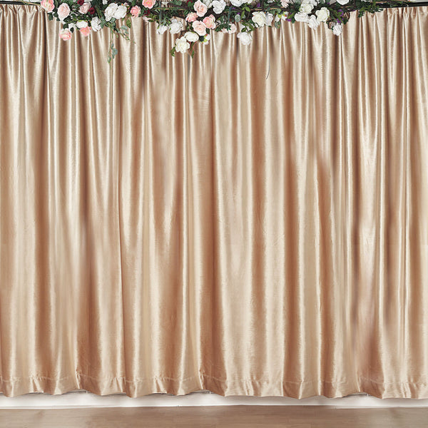 8Ft H x 8Ft W Champagne Premium Velvet Backdrop Curtain Panel Drape