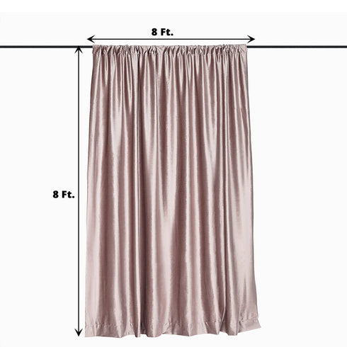 8Ft H x 8Ft W Dusty Rose Premium Velvet Backdrop Curtain Panel Drape