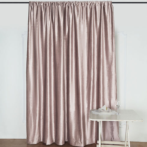 8Ft H x 8Ft W Dusty Rose Premium Velvet Backdrop Curtain Panel Drape | eFavorMart