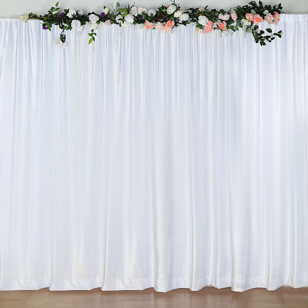 8Ft H x 8Ft W White Premium Velvet Backdrop Curtain Panel Drape