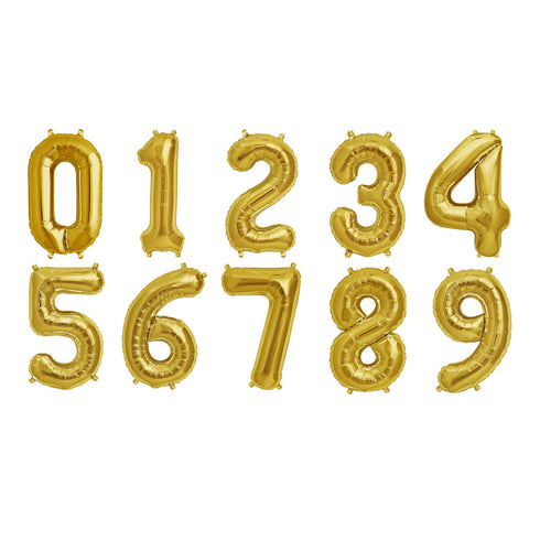 "16"" Shiny Gold Mylar Foil Helium Number Balloons - 6"