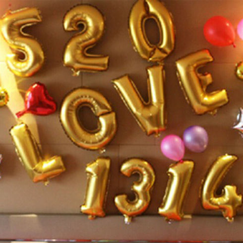 "16"" Shiny Gold Mylar Foil Helium Number Balloons - 8"