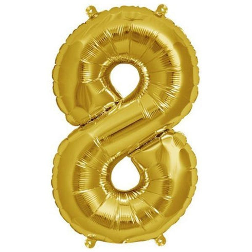 "16"" Shiny Gold Mylar Foil Number Helium Balloons"