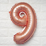 "16"" Rose Gold Mylar Foil Number Helium Balloons"