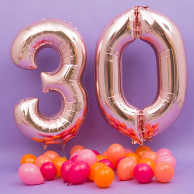 "16"" Rose Gold Mylar Foil Helium Number Balloons - 8"