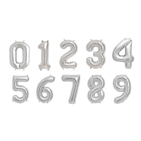 "16"" Silver Mylar Foil Helium Number Balloons - 6"