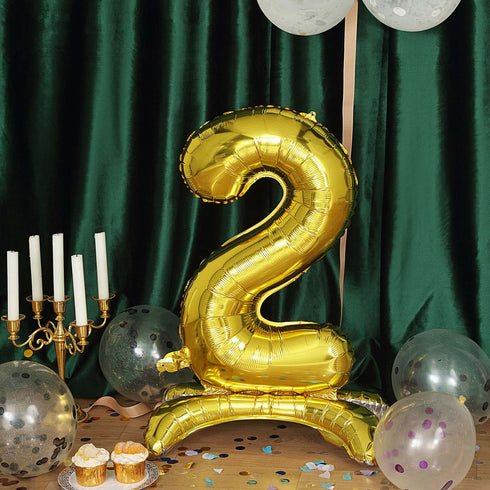 "27"" Shiny Gold Self Standing Number Balloons, Helium Foil Mylar Balloons"