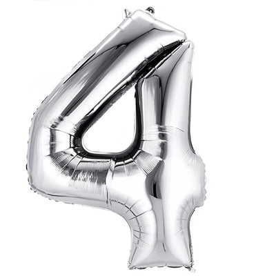40in Mylar Foil Helium Number Balloons - Silver