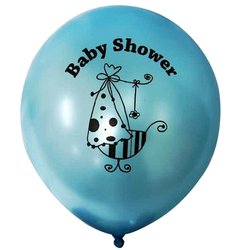 "12"" Blue Metallic Latex Baby Shower Balloons Prarty Decoration - 25/pk"