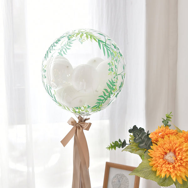 "2 Pack | 20"" Green Vine Air Helium PVC Deco Bubble Balloons"