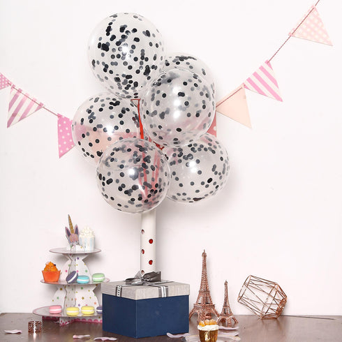 "10 Pack - 12"" Clear Confetti Balloons - Latex Helium Party Balloons With Black Filled Confetti Dots"