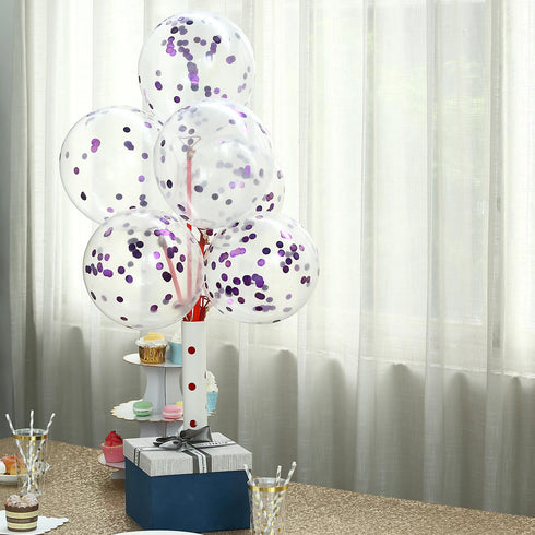 "10 Pack - 12"" Clear Confetti Balloons - Latex Helium Party Balloons With Purple Filled Confetti Dots"