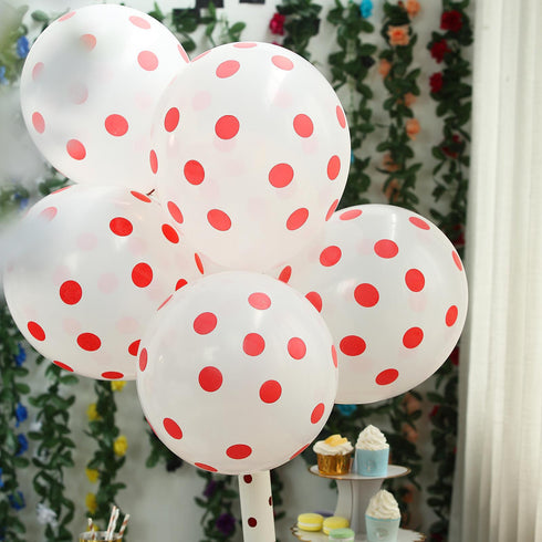 "25 Pack - 12"" Hot Pink SENSATIONAL Latex Polka Dot Balloons"