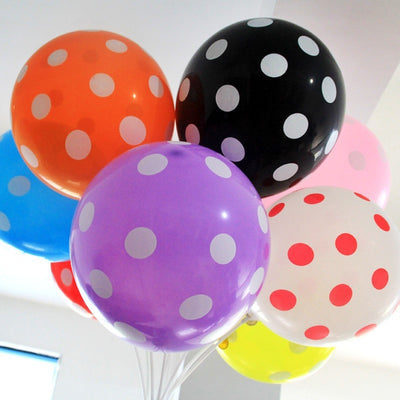 "12"" SENSATIONAL Polkadot Latex Balloons - Black 25/pk"