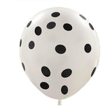 "12"" SENSATIONAL Polkadot Latex Balloons - White 25/pk"