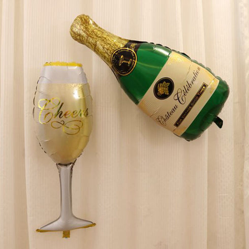 "14"" Champagne Bottle and Goblet Mylar Foil Air Helium Balloons Set"