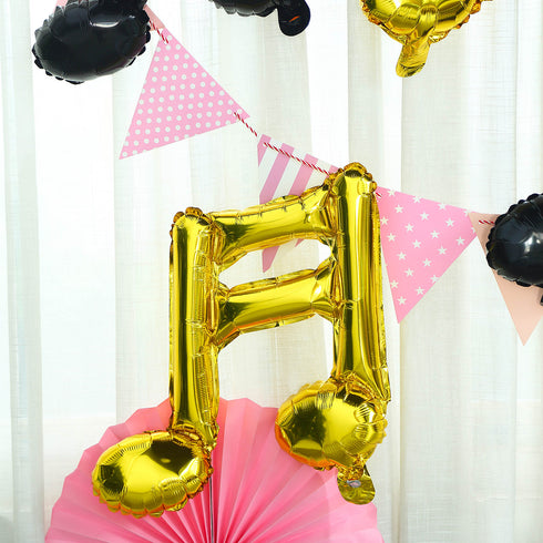 6 Pack | Gold | 16th & 8th Musical Notes Foil Mylar Balloons