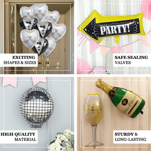 "20"" Champagne Bottle and Goblet Mylar Foil Air Helium Balloons Set"