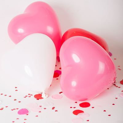 "12"" HAPPY HEART Latex Balloons - Pink 25/pk"