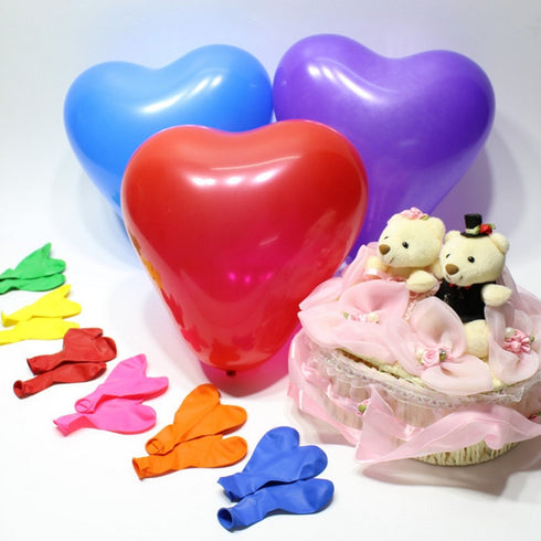 "25 Pack | 12"" White HAPPY HEART Latex Balloons"