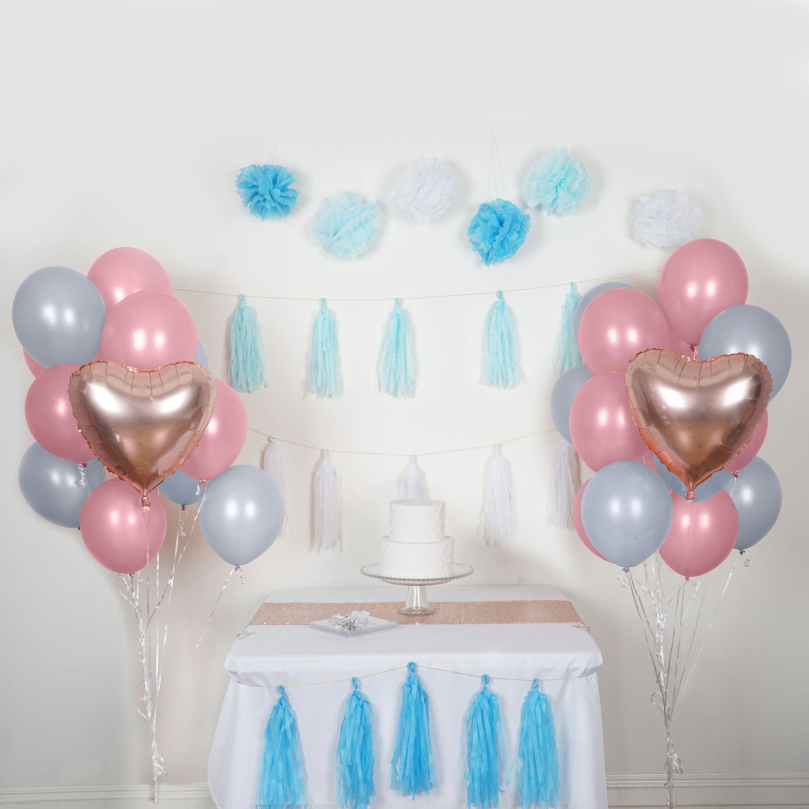 47 Pcs Blue White Decoration Kit With Foil Latex Mylar Balloons Wholesale And Pom Tassels