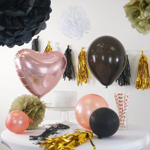 47 Pcs Black/Gold Decoration Kit with Foil Latex Mylar Balloons Wholesale and Pom Tassels