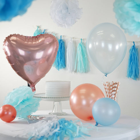 47 Pcs Blue/White Decoration Kit with Foil Latex Balloon and Pom Tassels