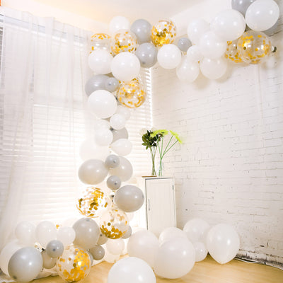 102 Pack DIY Balloon Garland Kit, Balloon Arch Party Decoration - White, Gray, Clear