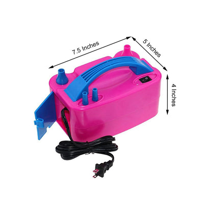 600W Portable Dual Nozzle Electric Air Blower Balloon Pump Inflator | Rose Red