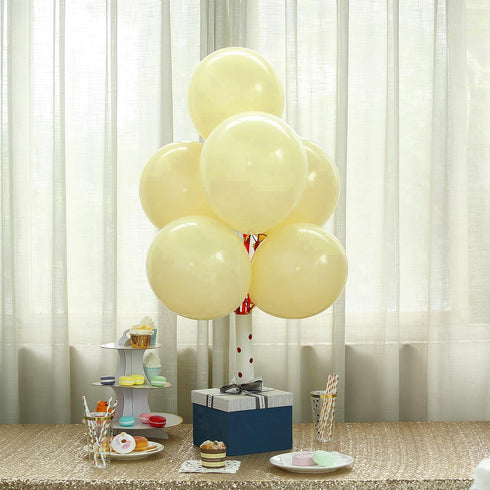"25 Pack - 12"" Pastel Yellow Round Latex Balloons - Matte Color Helium Balloons"