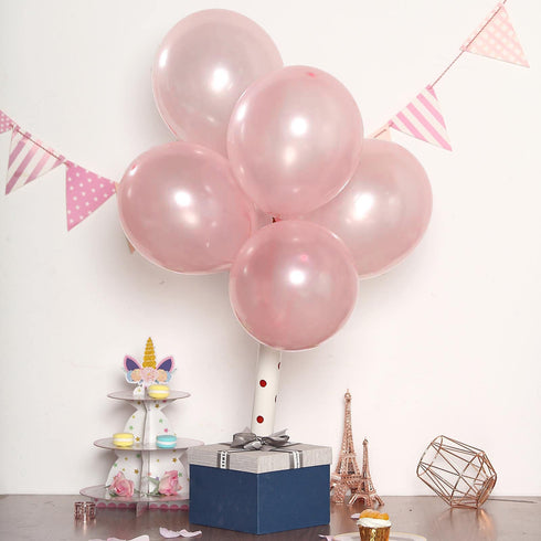"25 Pack - 12"" Blush Pearl Balloons - Water Air Helium Party Latex Balloons"