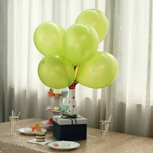 "25 Pack - 12"" Apple Green Pearl Balloons - Water Air Helium Party Latex Balloons"