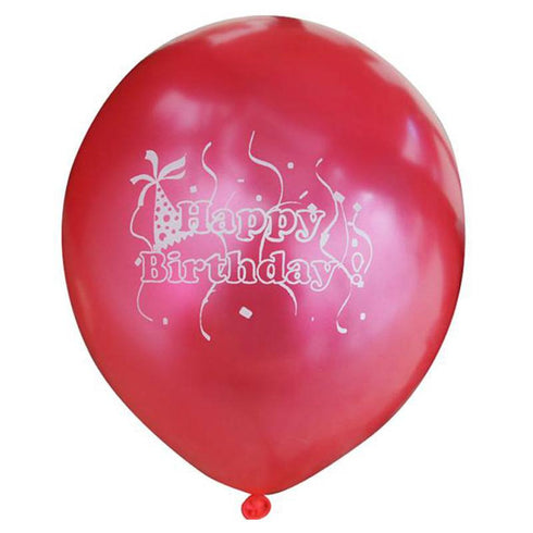 "25 Pack 12"" Red Metallic Latex Happy Birthday Balloons"