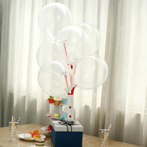 "25 Pack - 12"" Clear Pearl Balloons - Water Air Helium Party Latex Balloons"