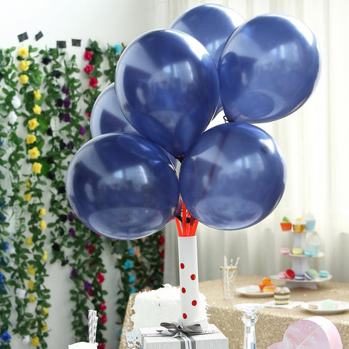 "25 Pack - 12"" Navy Blue Pearl Balloons - Water Air Helium Party Latex Balloons"