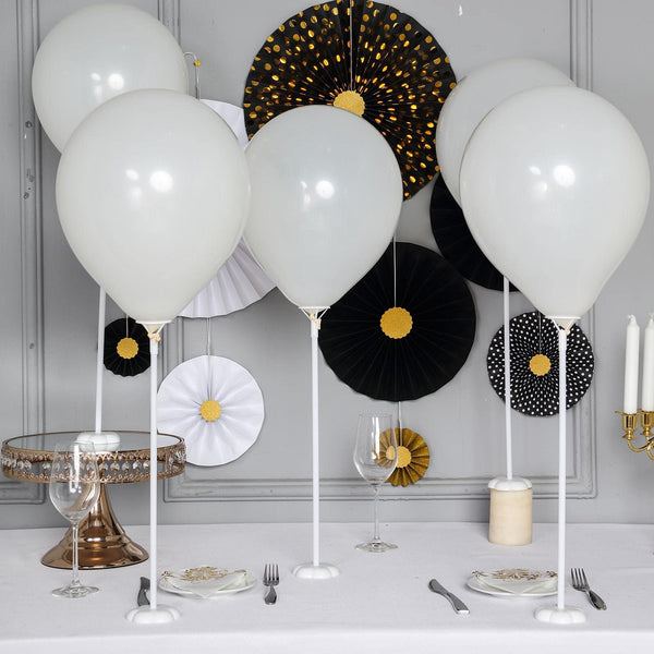 "5 Pack - 17"" White Balloon Stand Kit - Stick Balloon Column With Beautiful Flower Base"