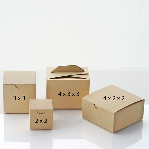 "100 Pack | Natural 2"" square 2 Pcs Favor Boxes"