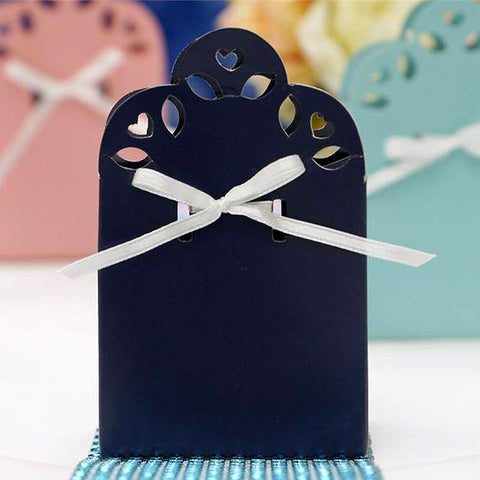 100 PCS Sacchetto Navy Blue Bridal Shower Party Ribbon Favor Gift Boxes