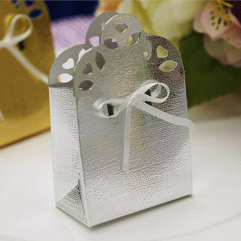 100 PCS Sacchetto Silver Bridal Shower Party Ribbon Favor Gift Boxes