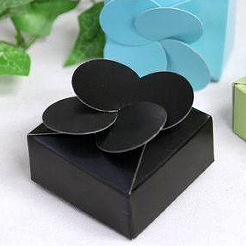 Black Petal Top Favor Box -100pc