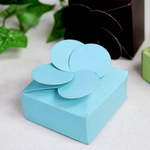 100 PCS Turquoise Petal Top Bridal Shower Party Favor Gift Boxes