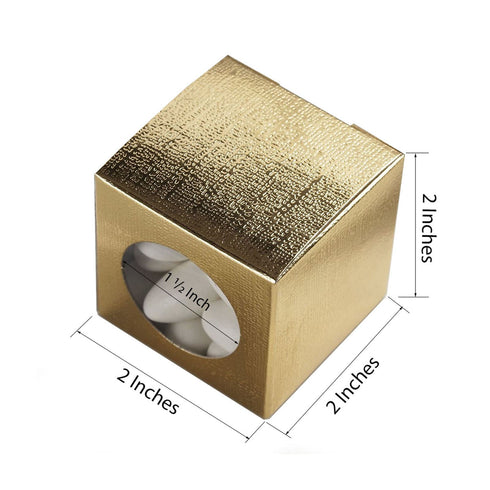 "100 PCS | 2"" Square Gold Ballotin Favor Boxes"