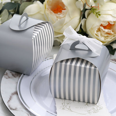 Lovable Striped Cupcake Purse Favor Boxes 10pc - White / Silver