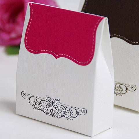 100 PCS Fushia Tapestry Favor Boxes Bridal Shower Party Favor Gift Container