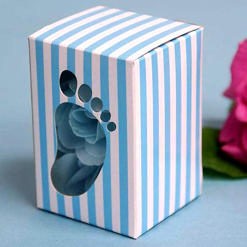 100 PCS Blue Baby Foot Favor Boxes Shower Birthday Party Favor Gift Container